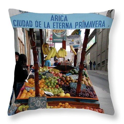 Arica Throw Pillow featuring the photograph Arica Chile Fruit Stand by Brett Winn