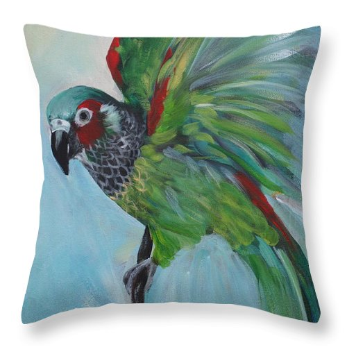 Bird Throw Pillow featuring the painting Arika by Cher Devereaux