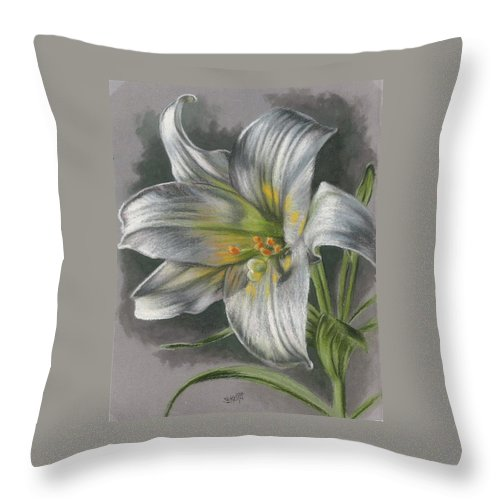 Easter Lily Throw Pillow featuring the mixed media Arise by Barbara Keith