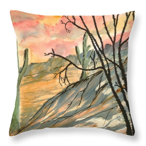 Drawing Throw Pillow featuring the painting Arizona Evening Southwestern landscape painting poster print by Derek Mccrea