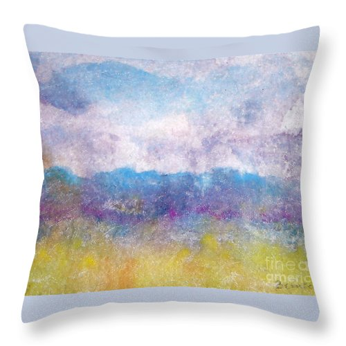 Abstract Throw Pillow featuring the painting Arizona Impressions by Jan Bennicoff