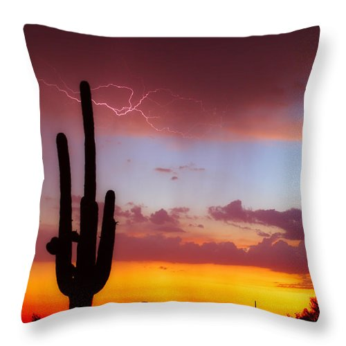 Arizona Throw Pillow featuring the photograph Arizona Lightning Sunset by James BO Insogna
