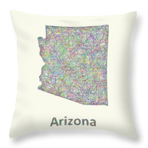 Arizona Map Throw Pillow featuring the digital art Arizona Line Art Map by David Zydd