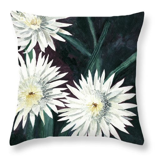 Cactus Throw Pillow featuring the painting Arizona-queen Of The Night by Eric Samuelson