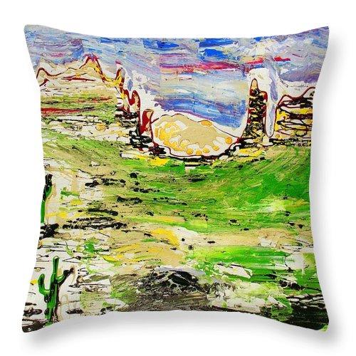 Cactus Throw Pillow featuring the painting Arizona Skies by J R Seymour