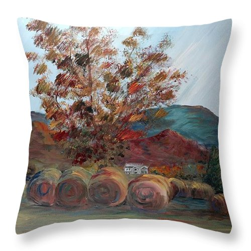 Autumn Throw Pillow featuring the painting Arkansas Autumn by Nadine Rippelmeyer