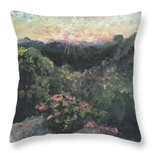 Landscape Throw Pillow featuring the painting Arkansas Mountain Sunset by Nadine Rippelmeyer