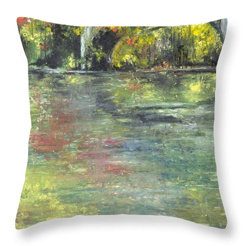 Arkansas Throw Pillow featuring the painting Arkansas Trestle by Robin Miller-Bookhout
