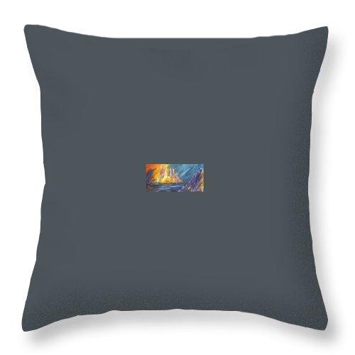 Fiery Throw Pillow featuring the painting Armageddon by Melody Horton Karandjeff