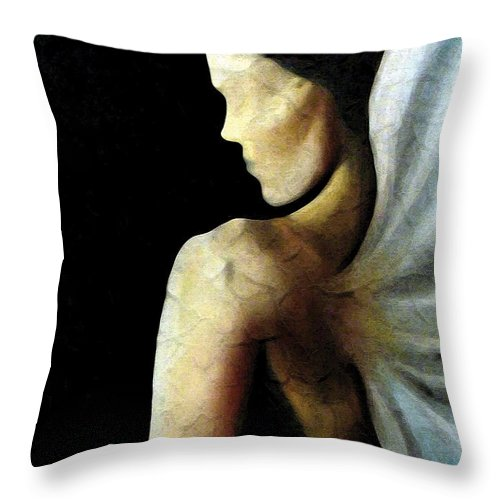 Angel Throw Pillow featuring the painting Armaita Angel of Truth Wisdom and Goodness by Elizabeth Lisy Figueroa