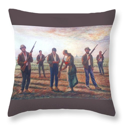 Landscape Throw Pillow featuring the painting Arms Inspection II by James LeGros