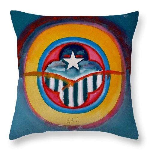 Button Throw Pillow featuring the painting Army by Charles Stuart