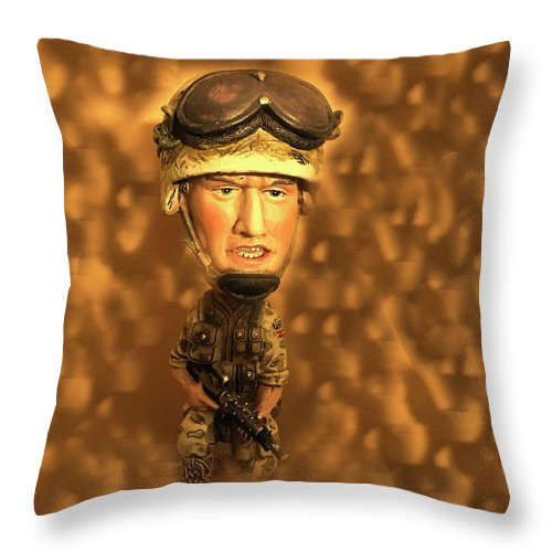 Throw Pillow featuring the photograph Army Guy by Miriam Marrero