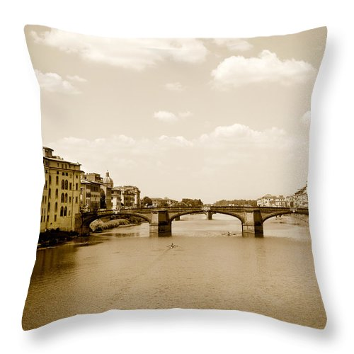 Italy Throw Pillow featuring the photograph Arno River Florence by Marilyn Hunt