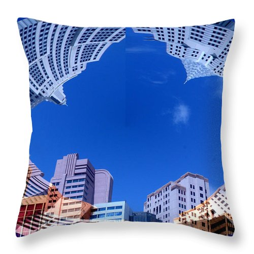 New York City Sky Line Las Vegas Sky Scrapers Clouds Buildings Throw Pillow featuring the photograph Around New York by Andrea Lawrence