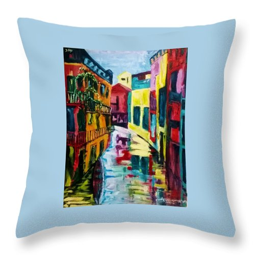 Cityscape Throw Pillow featuring the painting Around The Bend by Thomas Moormann