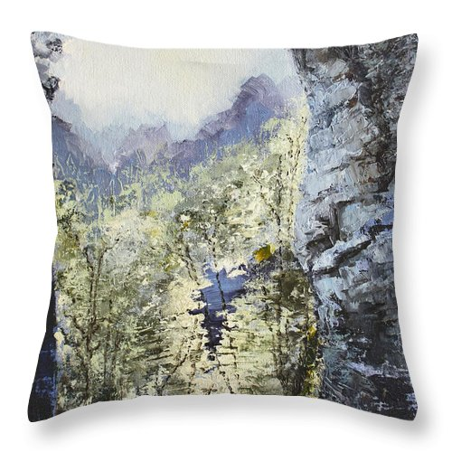 Landscape Throw Pillow featuring the painting Around The Bend by Todd Blanchard