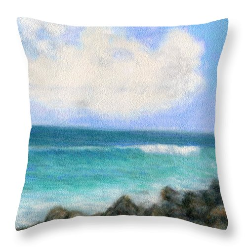 Rainbow Colors Pastel Throw Pillow featuring the painting Around The Point by Kenneth Grzesik