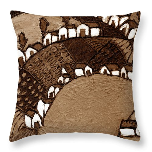 Pond Throw Pillow featuring the painting Around The Pond Sepia by Wayne Potrafka
