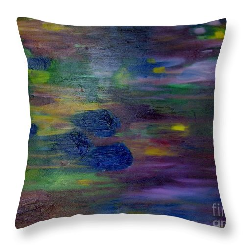 Abstract Throw Pillow featuring the painting Around The Worlds by Laurie Morgan