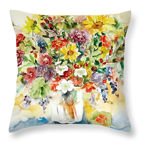 Watercolor Throw Pillow featuring the painting Arrangement IIi by Alexandra Maria Ethlyn Cheshire