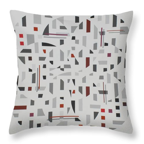 Abstract Geometric Painting Throw Pillow featuring the painting Arrangement in Gray with Red by Marston A Jaquis