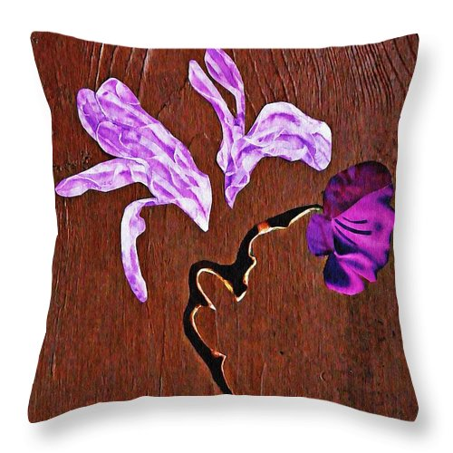 Floral Throw Pillow featuring the mixed media Arrangement In Purple by Sarah Loft