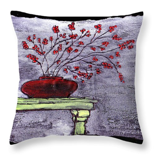 Flower Throw Pillow featuring the painting Arrangement In Red by Wayne Potrafka