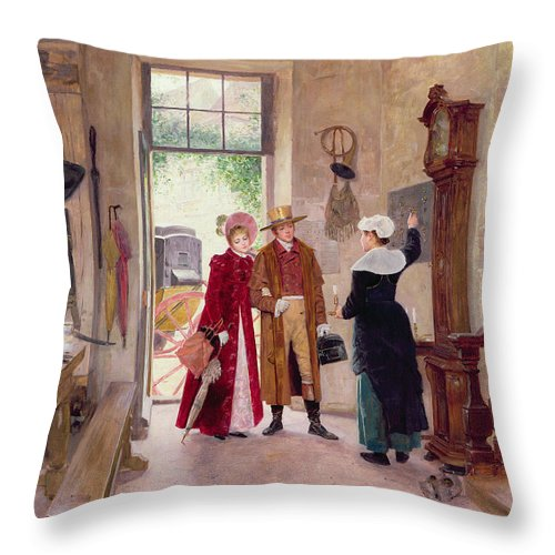 Arrival Throw Pillow featuring the painting Arrival At The Inn by Charles Edouard Delort