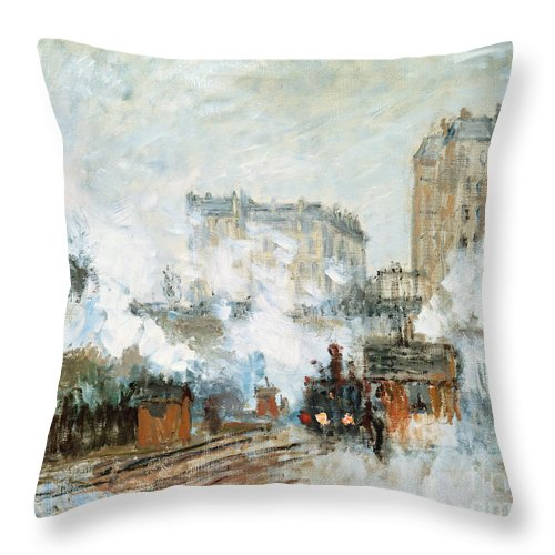 Sainte-lazare; Saint; Lazare; St; Parisian Railway Station; Steam; Train; Engine; Cityscape; Urban; Impressionist Throw Pillow featuring the painting Arrival Of A Train by Claude Monet