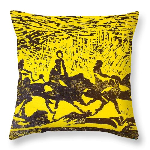 Arrival Throw Pillow featuring the mixed media Arrival by Olaoluwa Smith
