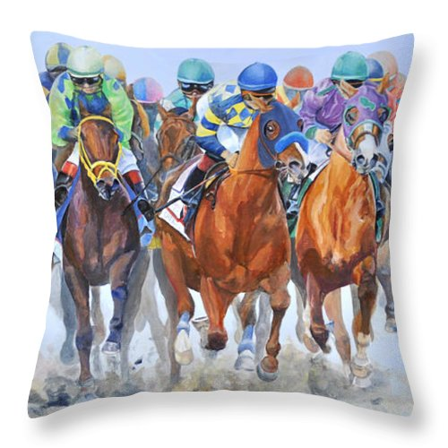 Landscape Throw Pillow featuring the painting Arrivee Groupee by Muriel Dolemieux