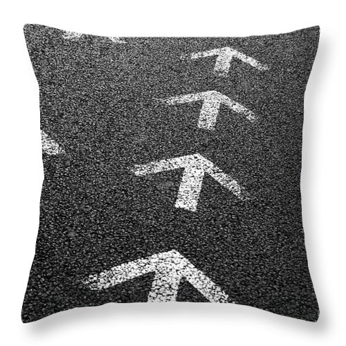 Abstract Throw Pillow featuring the photograph Arrows On Asphalt by Carlos Caetano