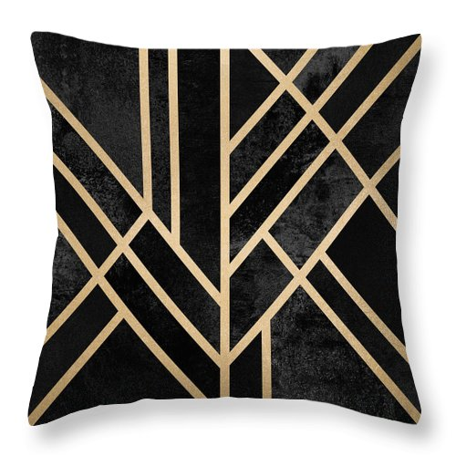 Digital Throw Pillow featuring the digital art Art Deco Black by Elisabeth Fredriksson