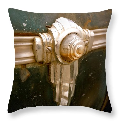 1941 Throw Pillow featuring the photograph Art Deco Olds Trim by Customikes Fun Photography and Film Aka K Mikael Wallin