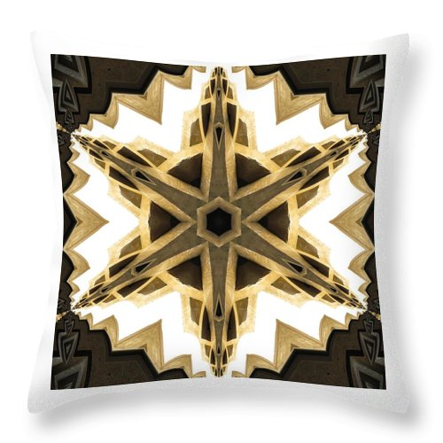 Kaleidoscope Throw Pillow featuring the photograph Art Deco Parquet Star by M E Cieplinski