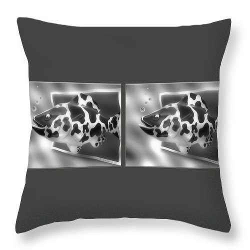 3d Throw Pillow featuring the photograph Art Fish - Gently Cross Your Eyes And Focus On The Middle Image That Appears by Brian Wallace