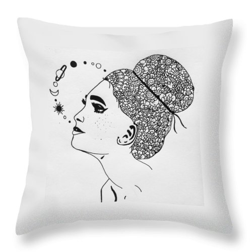 Art Throw Pillow featuring the drawing art by Pixie Xart