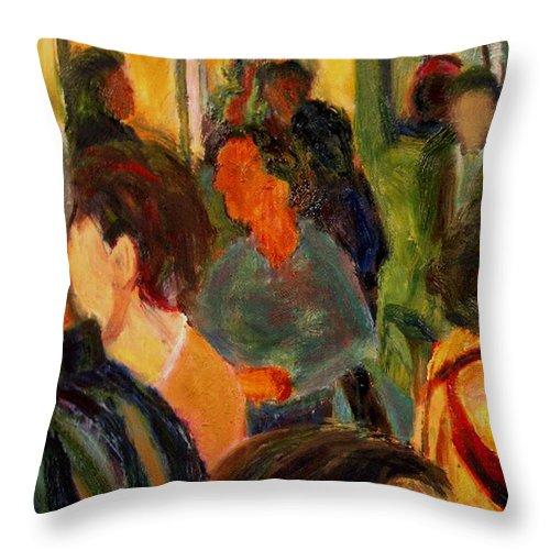 Dornberg Throw Pillow featuring the painting Art Show by Bob Dornberg