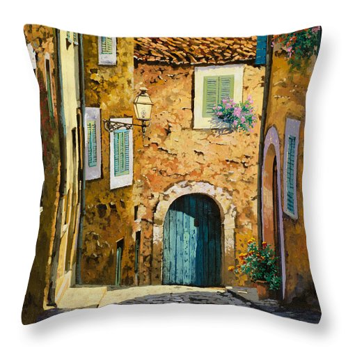 Landscape Throw Pillow featuring the painting Arta-mallorca by Guido Borelli