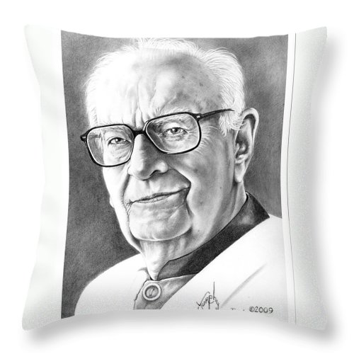 Portrait Throw Pillow featuring the drawing Arthur C. Clarke by Murphy Elliott