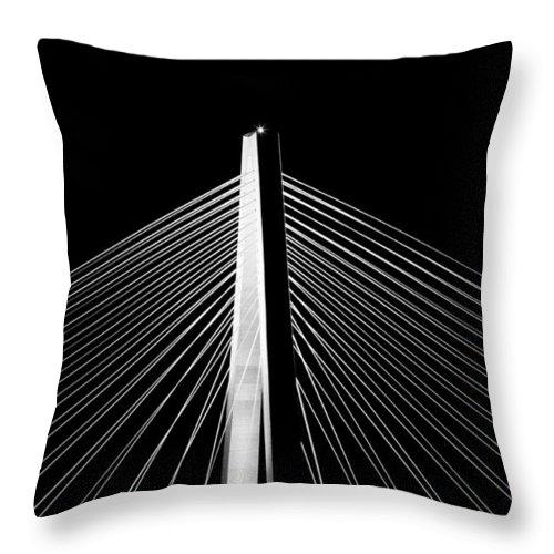 Arthur Ravenel Bridge Charleston South Carolina Landscape Night Lines Range Dustin Ryan Throw Pillow featuring the photograph Arthur Ravenel Jr. Bridge Lines by Dustin K Ryan