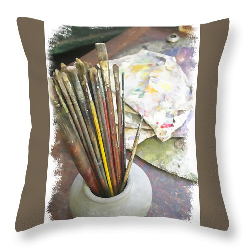 Artist Throw Pillow featuring the photograph Artist Brushes by Margie Wildblood