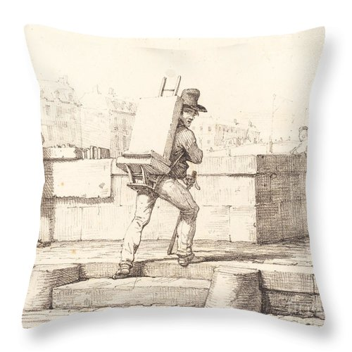 Throw Pillow featuring the drawing Artist Carrying Easel With A Lithographic Stone by Horace Vernet