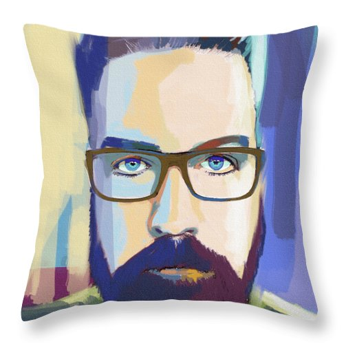 Self Portrait The Artist With Glasses Throw Pillow For Sale By John Castell