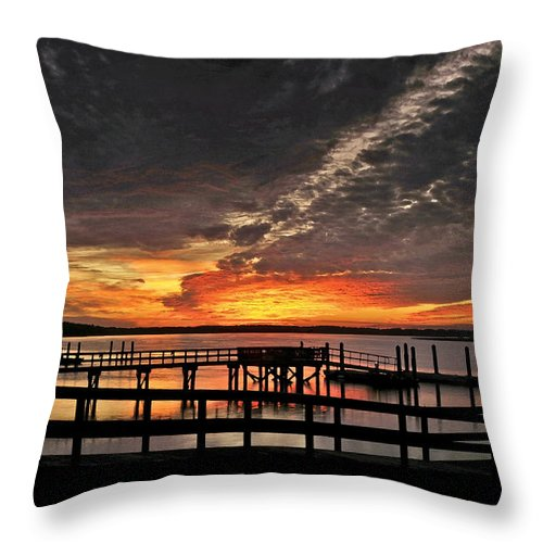 Sunset Throw Pillow featuring the photograph Artistic Black Sunset by Phill Doherty
