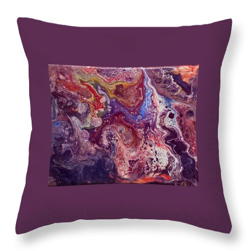 Abstract Purples Throw Pillow featuring the painting Artistic Drawma by Beth Waltz