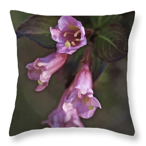Flowers Throw Pillow featuring the mixed media Artistic In Pink by Deborah Benoit