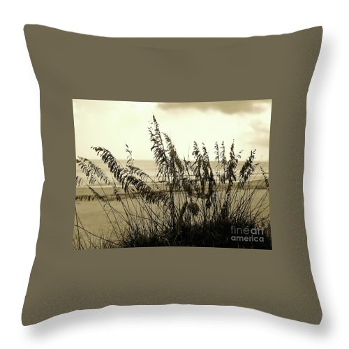 Sepia Throw Pillow featuring the photograph Artistic - Sea - Oats by D Hackett