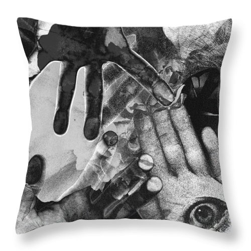 Hands Throw Pillow featuring the photograph Artist's Hands by Nancy Mueller